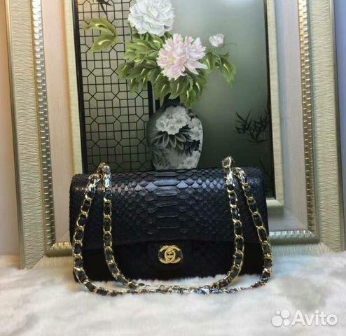 cb3fdb57c2c4 Сумка черная Chanel Python Classic Double Flap bag | Festima.Ru ...
