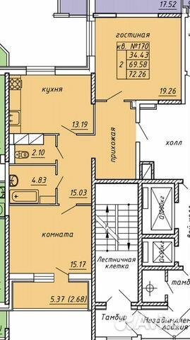 2-к квартира, 72.3 м², 12/14 эт. купить 3
