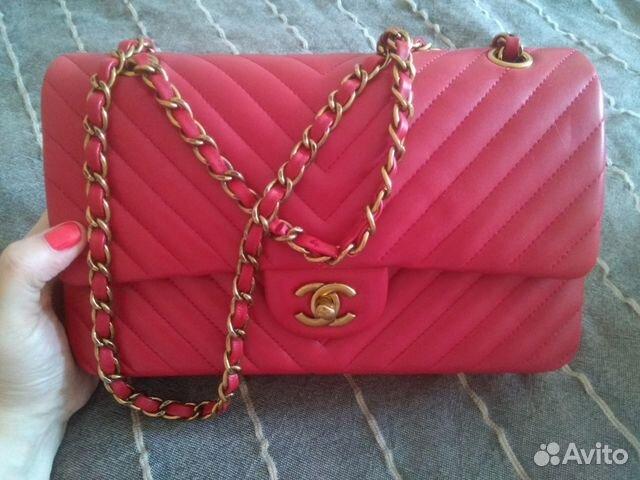Сумка Chanel красная среднего размера  785e1c6af42b8