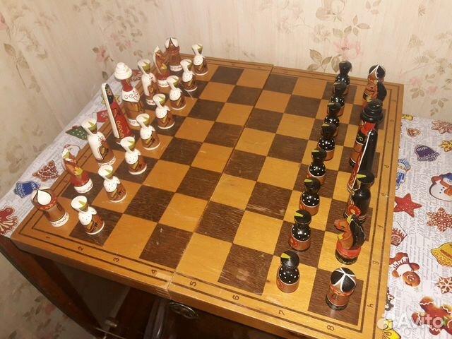 шахматы ручной работы деревянные роспись эксклюзив купить в