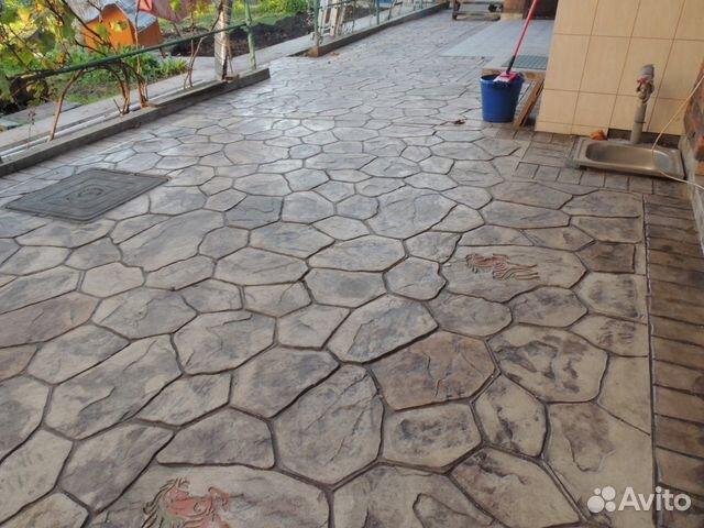 фото работ со штампом по бетону ночевать неудобном раскладном