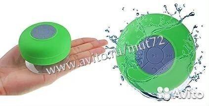 84942303606  Колонка блютуз для душа Shower Speaker зеленая