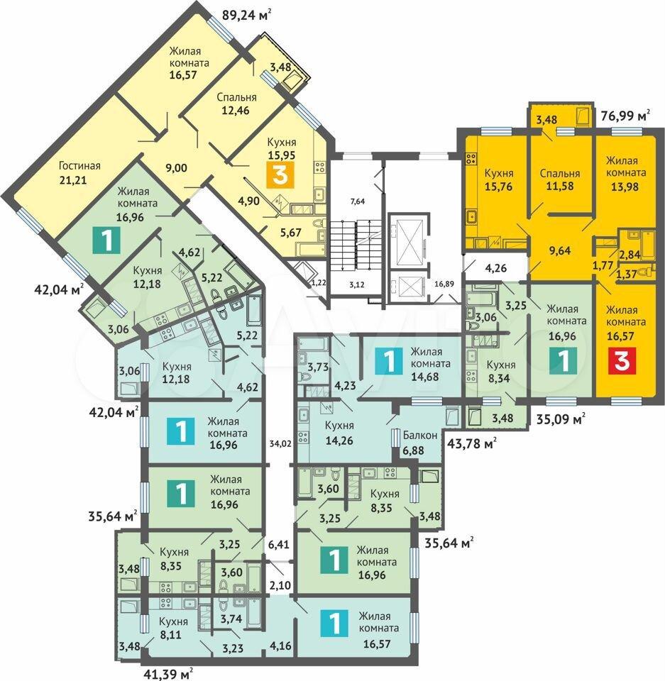 1-к квартира, 35.6 м², 3/16 эт.  89170712100 купить 3